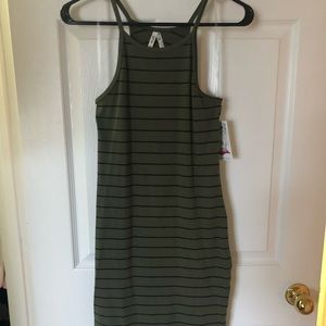 NWT Olive green and black striped dress